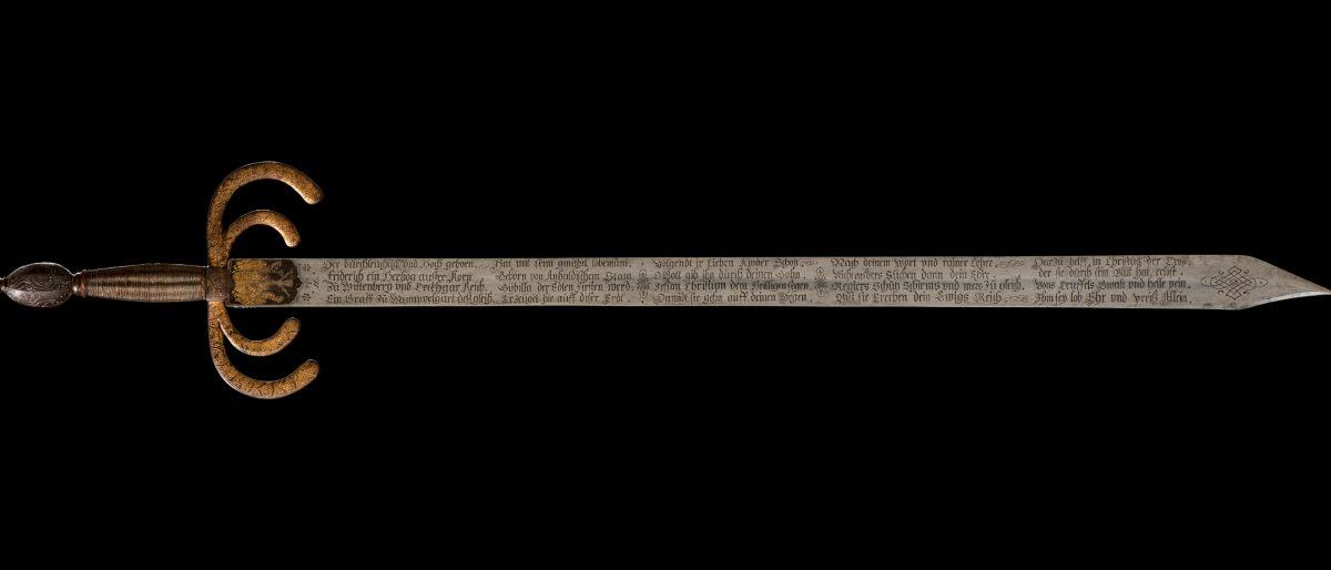 Schwert mit Nachkommen Herzog Friedrichs I. von Württemberg, 1594