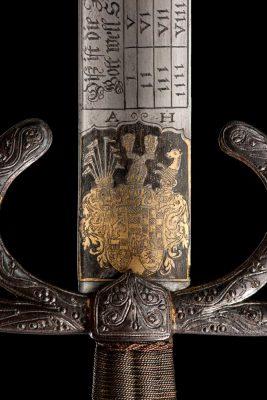 Anhaltinisches Wappen auf dem Schwert mit den Namen der Kinder Herzog Friedrichs I. von Württemberg, um 1594