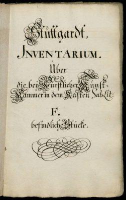Inventare des Antiquars Schönhaar, 1753-1761 (Hauptstaatsarchiv Stuttgart, Signatur A 20 a Bü 40, Vorsatzblatt)