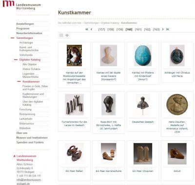 Die digitale Kunstkammer auf der Website des Landesmuseums