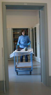 Miriam Régerat-Kobitzsch mit Objektwagen im Keramikdepot