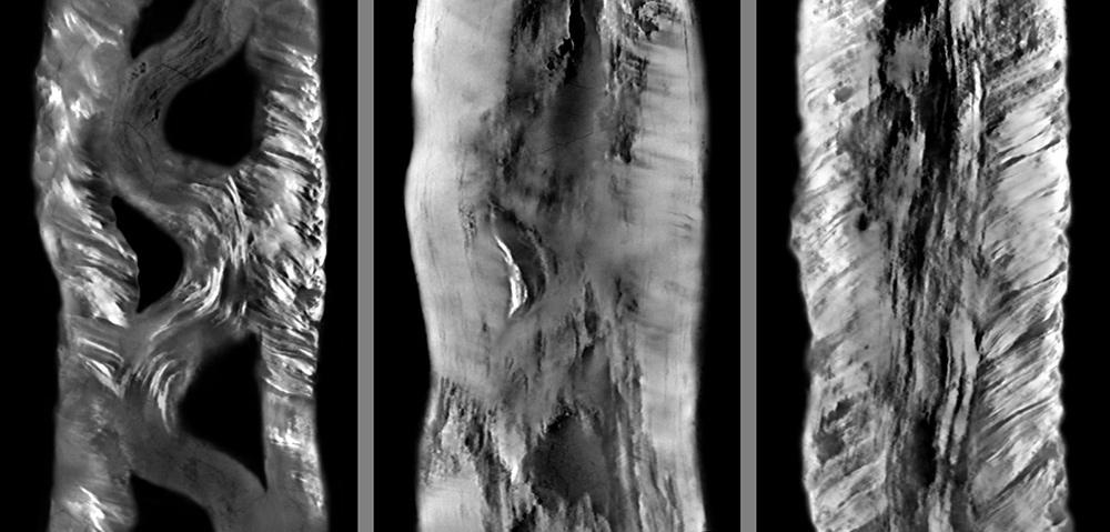 Die hier abgebildeten Konstruktionsebenen im Musterstreifen des Schwerts aus Sindelfingen fügte ich aus über 100 Schnittbildern zusammen. ©Landesmuseum-Württemberg, Fotomontage: Moritz Paysan, CC BY-SA