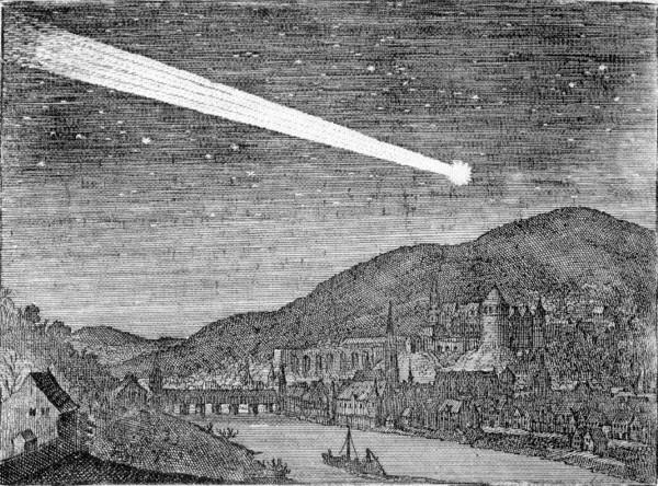 Der Komet von 1618 über dem nächtlichen Heidelberg