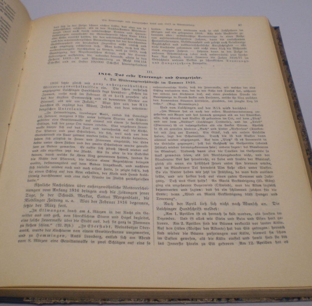 """Ein Teil der """"Hungerchronik"""" findet sich in den """"Jahrbüchern für Statistik und Landeskunde"""" für 1916. ©Landesmuseum Württemberg, Foto: Constantin Künzl, CC BY-SA"""