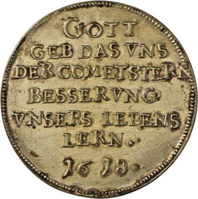 Runde Medaille auf den Kometen von 1618/19.