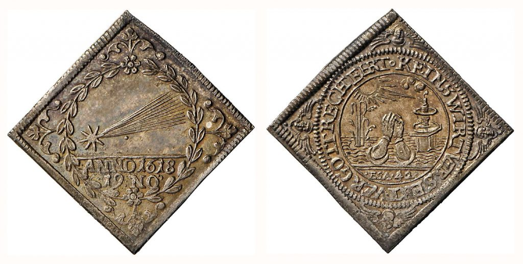 Viereckige Medaille auf den Kometen von 1618/19. © Landesmuseum Württemberg