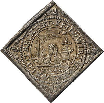 Viereckige Medaille auf den Kometen von 1618/19.