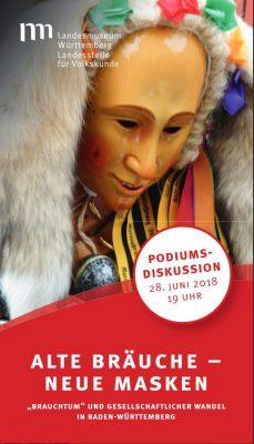 Flyer zur Podiumsdiskussion: Alte Bräuche – neue Masken