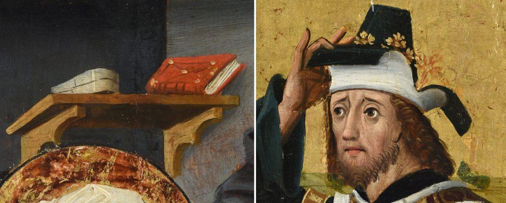 Bücherregal und Kopfbedeckung, Detailaufnahmen aus dem Bildprogramm des Lichtensterner Altars © Landesmuseum Württemberg
