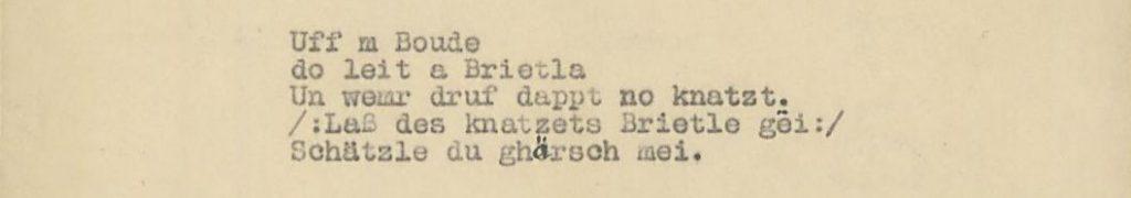 Schwäbisches Volkslied (1927) Sammlung Landesstelle für Volkskunde