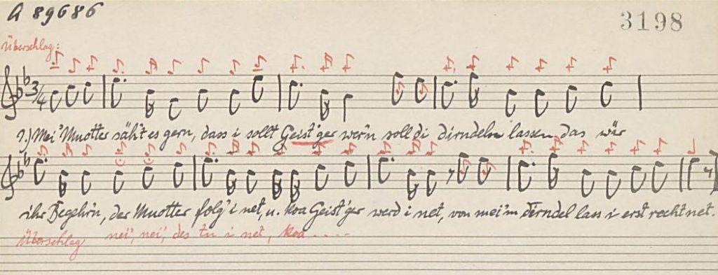 Ausschnitt von einem handschriftlich verfassten schwäbischen Volkslied (1926) Sammlung Landesstelle für Volkskunde
