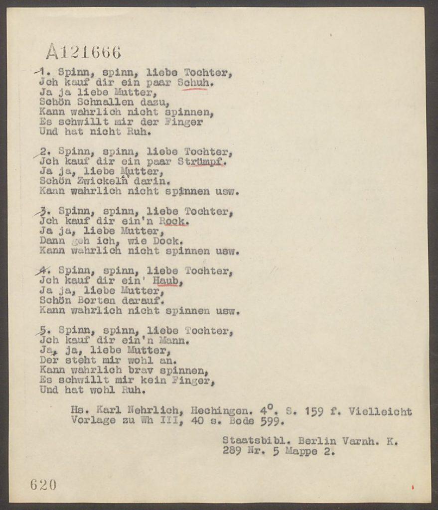 Volkslied (ca. 1800) Sammlung Landesstelle für Volkskunde
