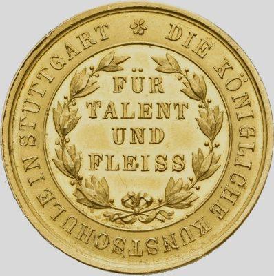 Rückseite der goldenen Preismedaille der Königlichen Kunstschule in Stuttgart (© Landesmuseum Württemberg, Sonja Kitzberger)