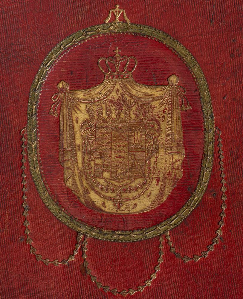 Vorderseite des Futterals mit dem goldgeprägten württembergischen Wappen