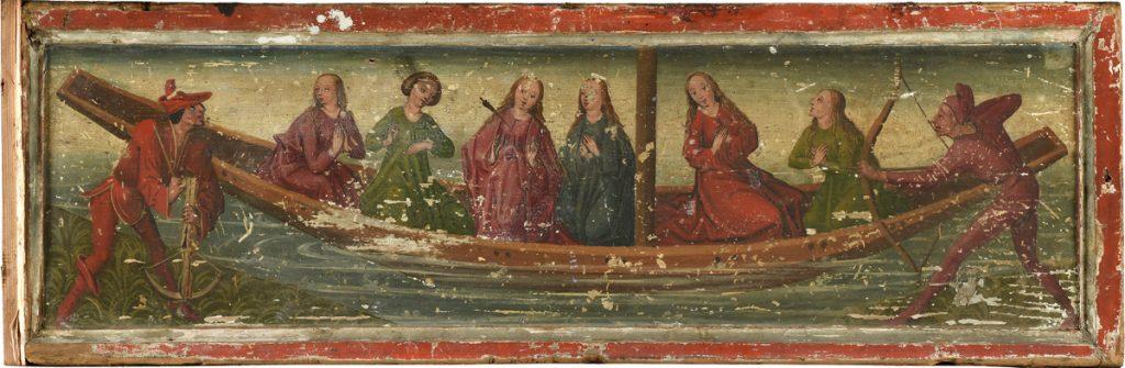 Innenseite des linken Predellenflügels: Schiff der Heiligen Ursula und Ihrer Gefährtinnen
