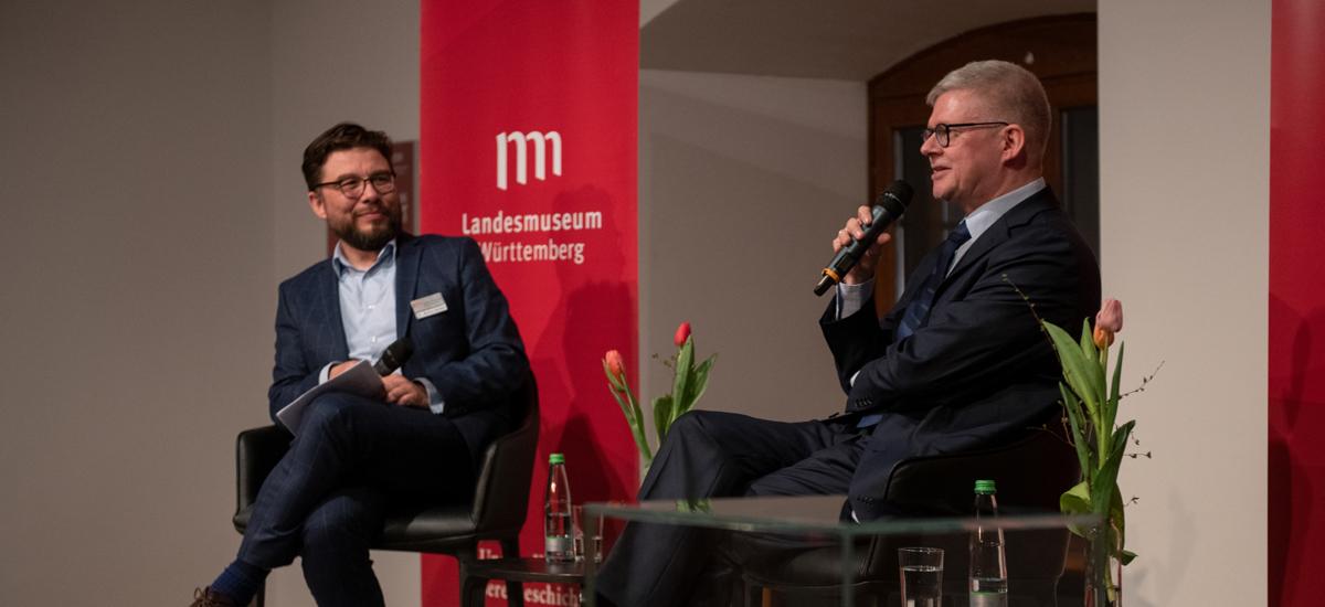 Markus Speidel und Tim Schleider im Gespräch