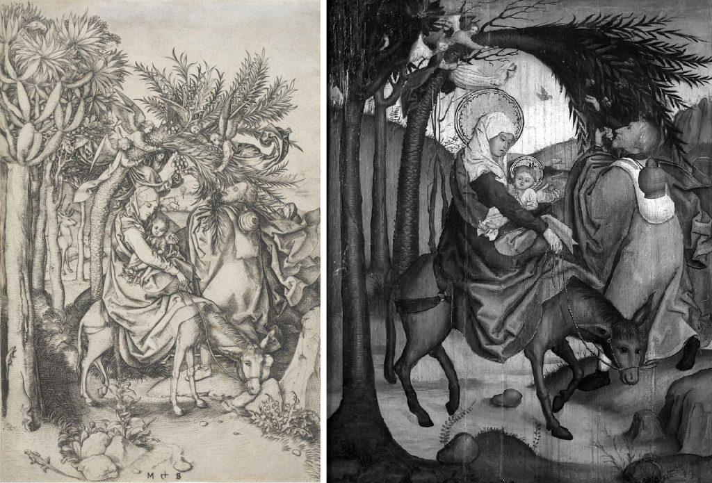 Flucht nach Ägypten © Landesmuseum Württemberg Martin Schongauer: Flucht nach Ägypten, zwischen 1470–1475, Kupferstich 25,5 x 17 cm © Musée Unterlinden