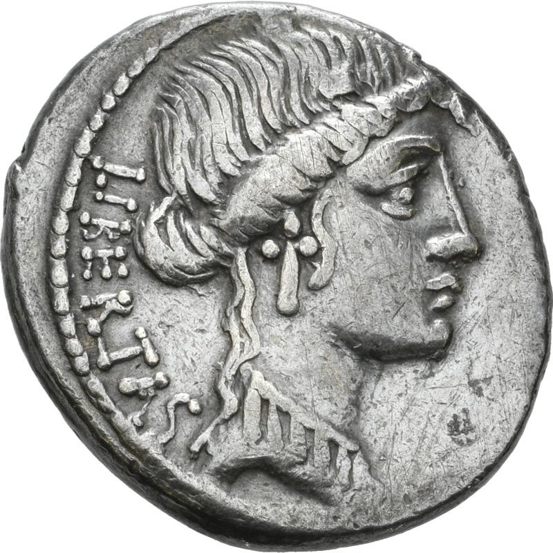 Münze mit einem Bild der Göttin Libertas